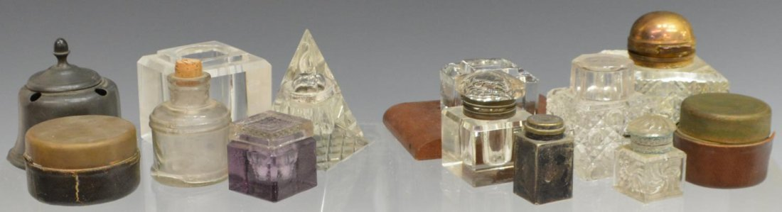 (13) GROUP OF GLASS & METAL TRAVELLING INKWELLS