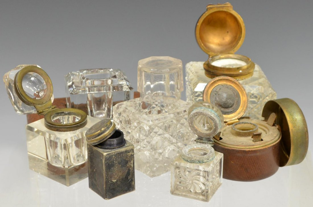 (13) GROUP OF GLASS & METAL TRAVELLING INKWELLS - 3