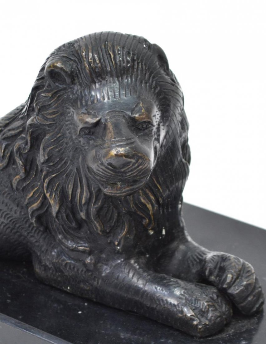 (2) PATINATED BRONZE RECUMENT LIONS ON MARBLE BASE - 2
