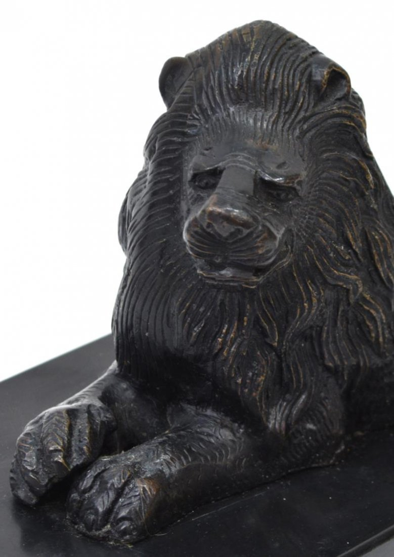 (2) PATINATED BRONZE RECUMENT LIONS ON MARBLE BASE - 3