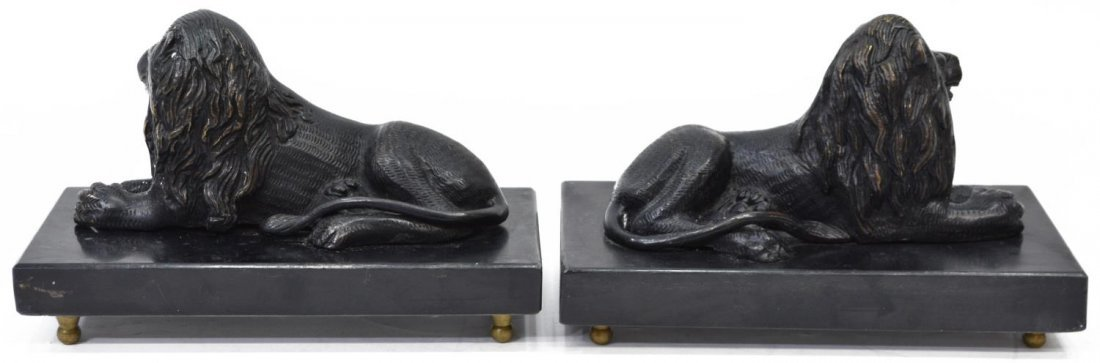 (2) PATINATED BRONZE RECUMENT LIONS ON MARBLE BASE - 4