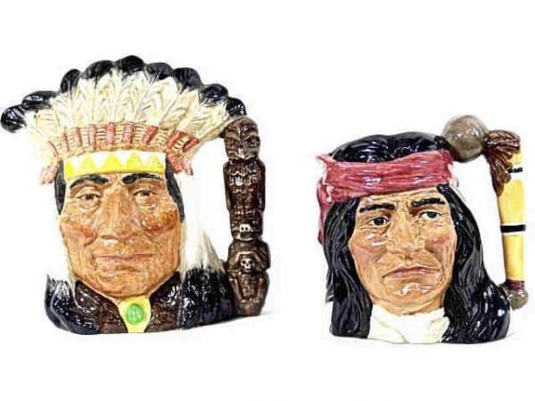 TWO LARGE ROYAL DOULTON CHARCTER TOBY MUGS INDIANS