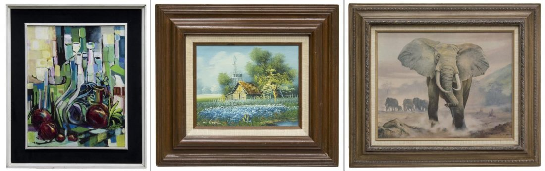 (3) FRAMED PAINTINGS & PRINT, ABSTRACT & ELEPHANT