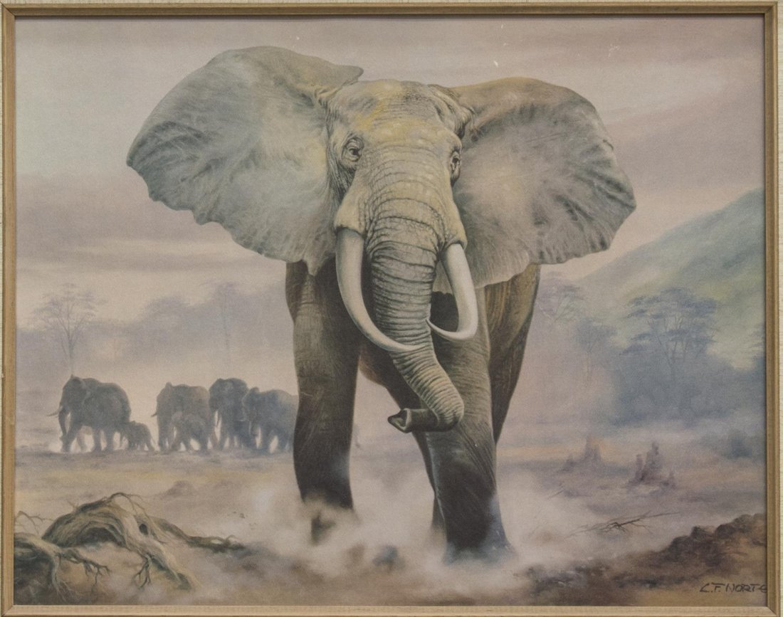 (3) FRAMED PAINTINGS & PRINT, ABSTRACT & ELEPHANT - 8