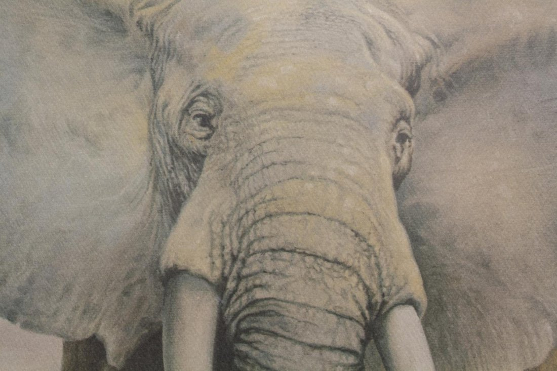 (3) FRAMED PAINTINGS & PRINT, ABSTRACT & ELEPHANT - 9