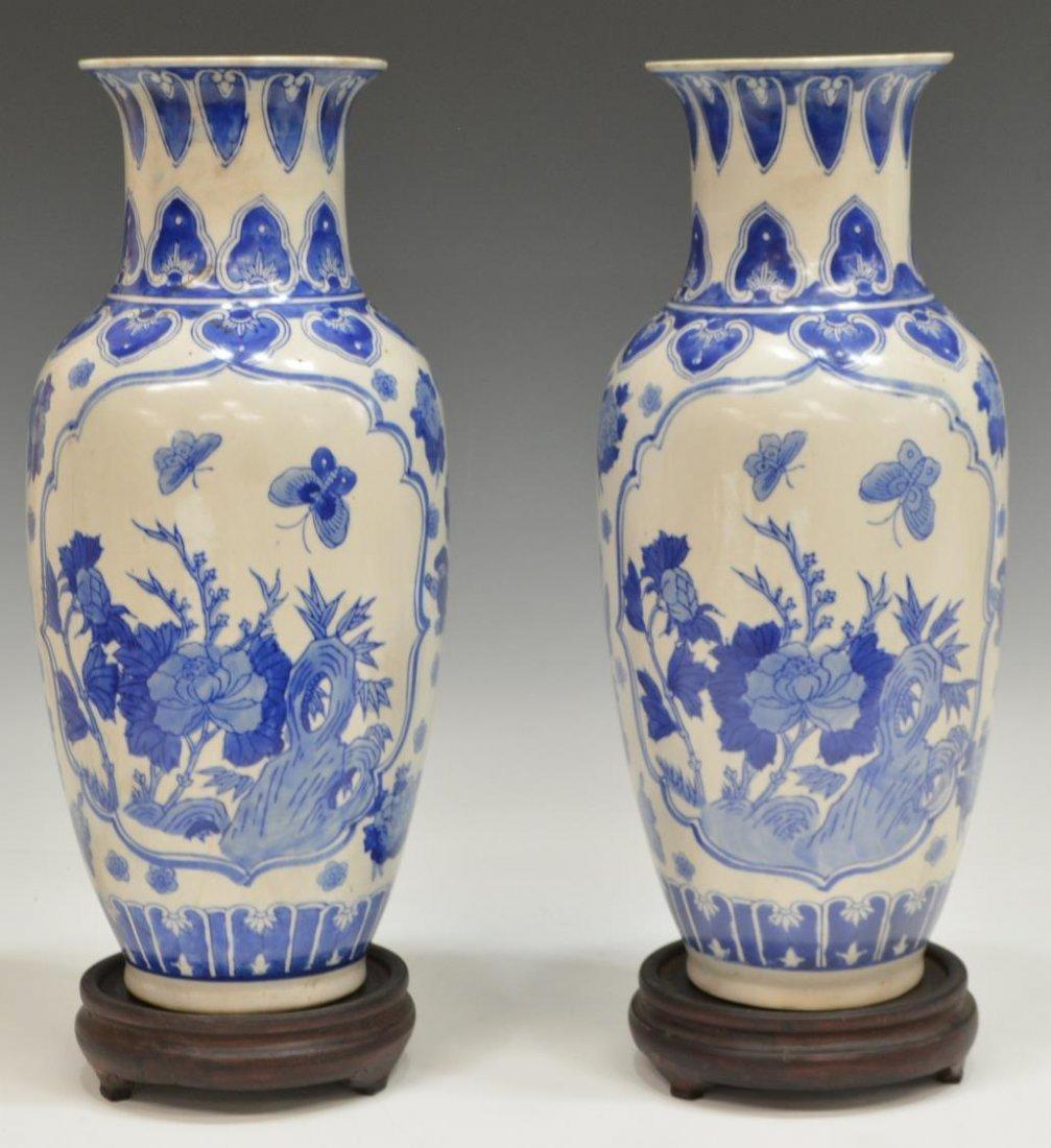 (2) CHINESE BLUE & WHITE PORCELAIN FLORAL VASES