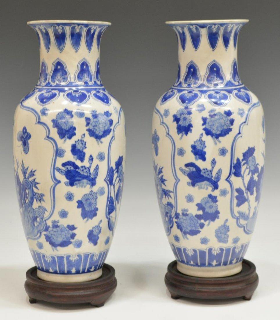 (2) CHINESE BLUE & WHITE PORCELAIN FLORAL VASES - 2