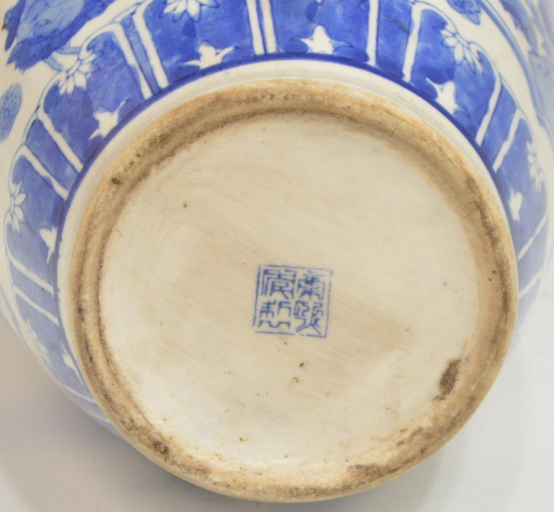 (2) CHINESE BLUE & WHITE PORCELAIN FLORAL VASES - 3