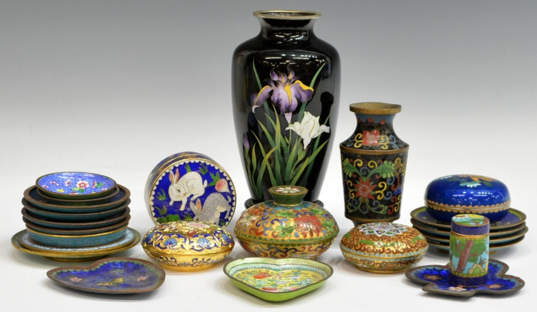 HUGE COLLECTION JAPANESE & CHINESE CLOISONNE ITEMS