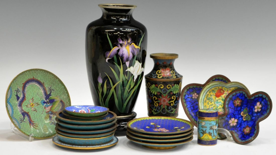 HUGE COLLECTION JAPANESE & CHINESE CLOISONNE ITEMS - 3