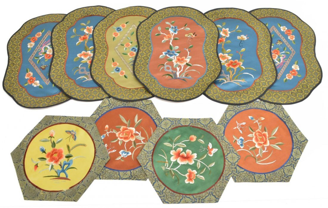 (10) VINTAGE CHINESE SILK EMBROIDERED PANELS