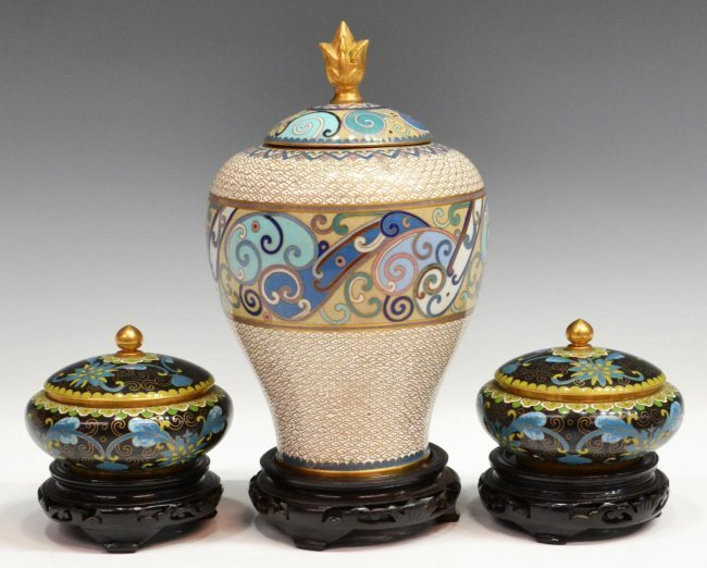 (3) CHINESE CLOISONNE ENAMEL VASE & LIDDED JARS
