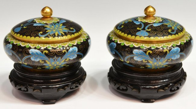 (3) CHINESE CLOISONNE ENAMEL VASE & LIDDED JARS - 6