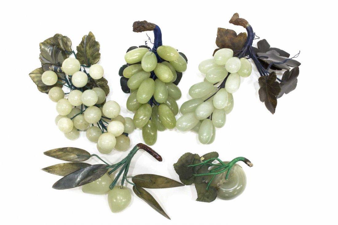 (13) VINTAGE CHINESE HARDSTONE FRUIT CLUSTERS - 4