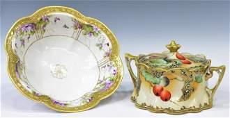 (2)NIPPON PARCEL GILT PORCELAIN BISCUIT JAR & BOWL