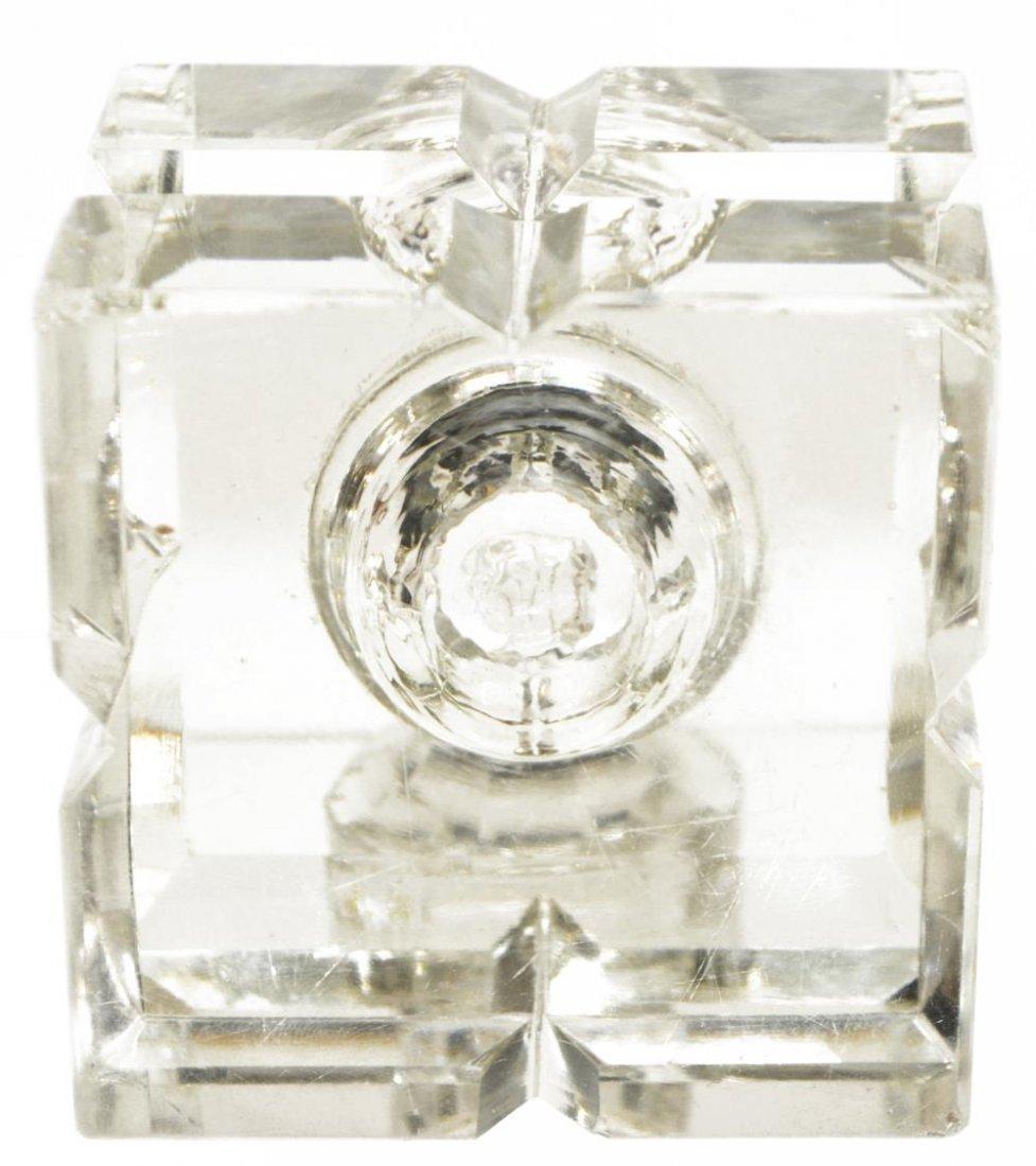 (2) ORNATE ANTIQUE GILT BRASS & GLASS INKSTANDS - 8