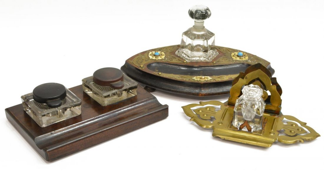 (3) ANTIQUE ENGLISH INKSTAND & INKWELLS