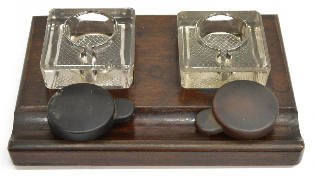 (3) ANTIQUE ENGLISH INKSTAND & INKWELLS - 2