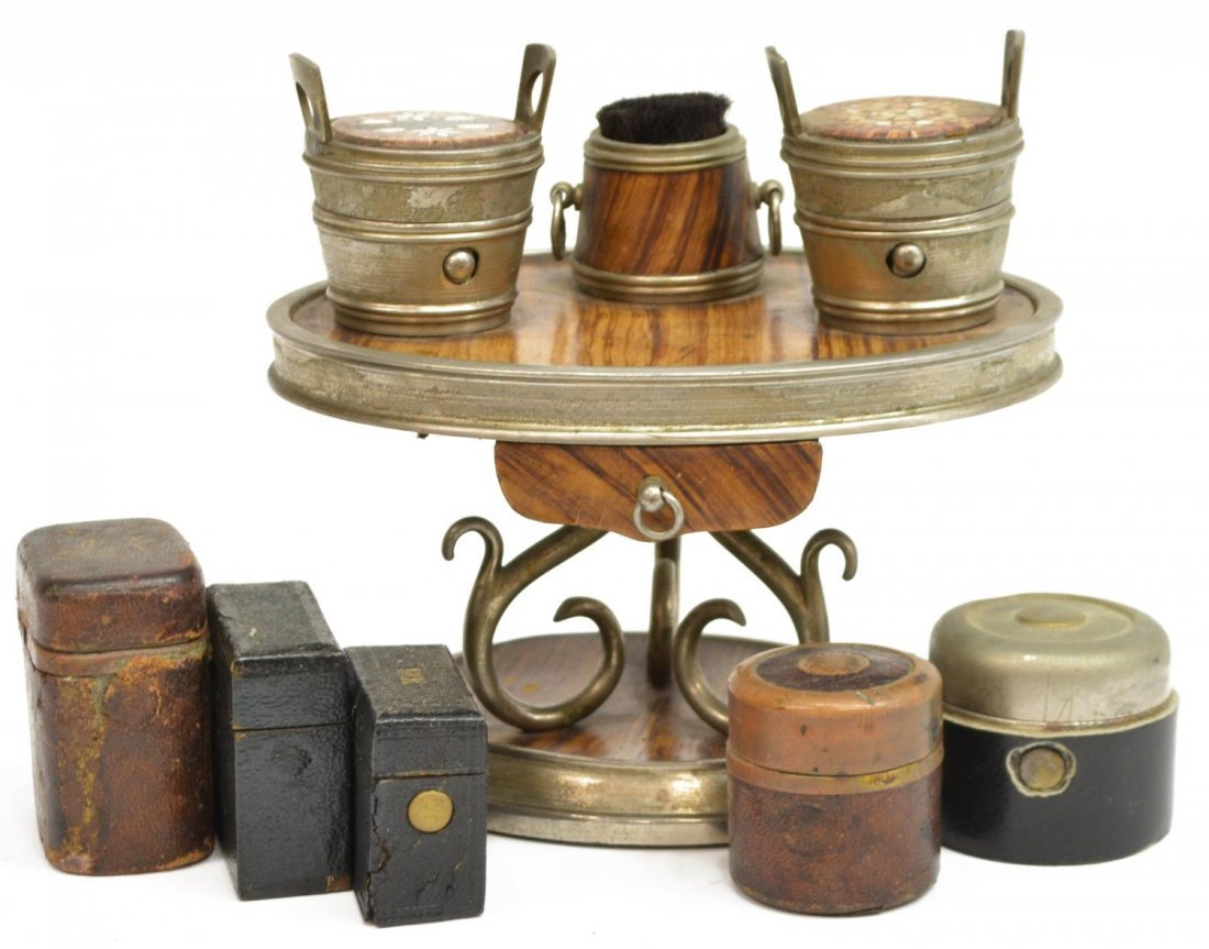 (6) TRAVELING FAUX WOOD & LEATHER INKWELL GROUP