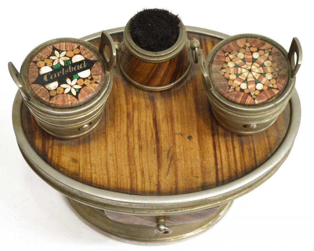 (6) TRAVELING FAUX WOOD & LEATHER INKWELL GROUP - 2