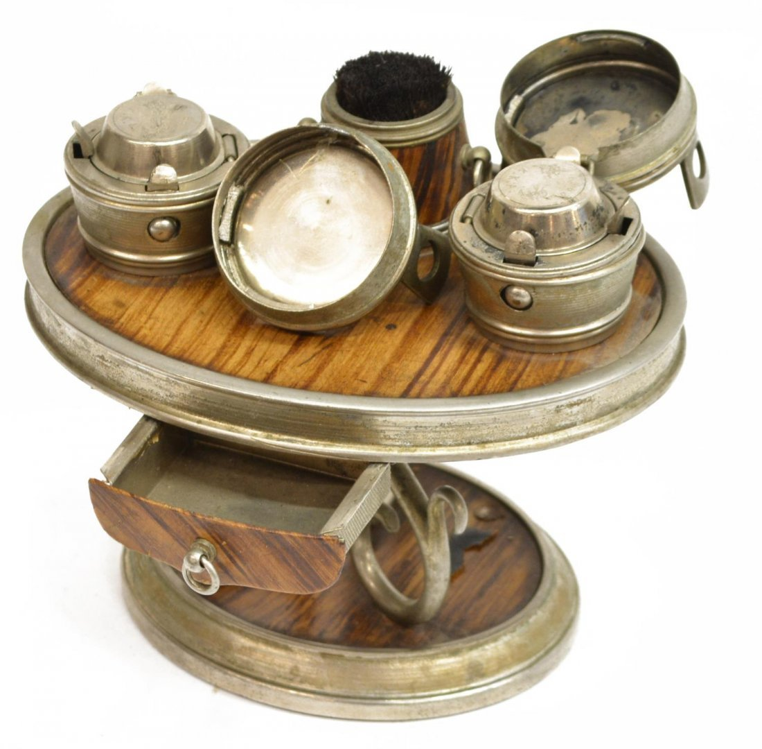 (6) TRAVELING FAUX WOOD & LEATHER INKWELL GROUP - 3