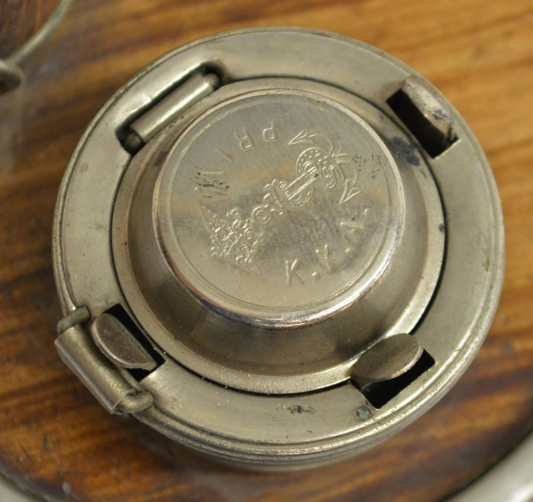 (6) TRAVELING FAUX WOOD & LEATHER INKWELL GROUP - 4