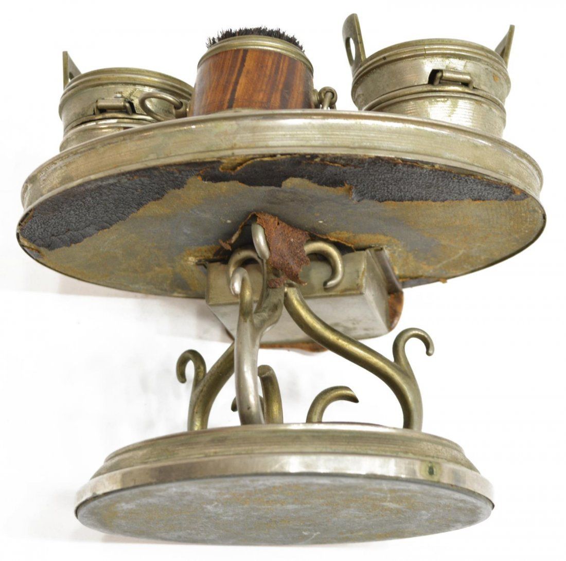 (6) TRAVELING FAUX WOOD & LEATHER INKWELL GROUP - 5