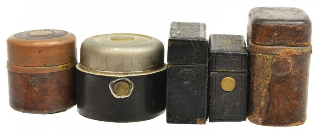 (6) TRAVELING FAUX WOOD & LEATHER INKWELL GROUP - 7