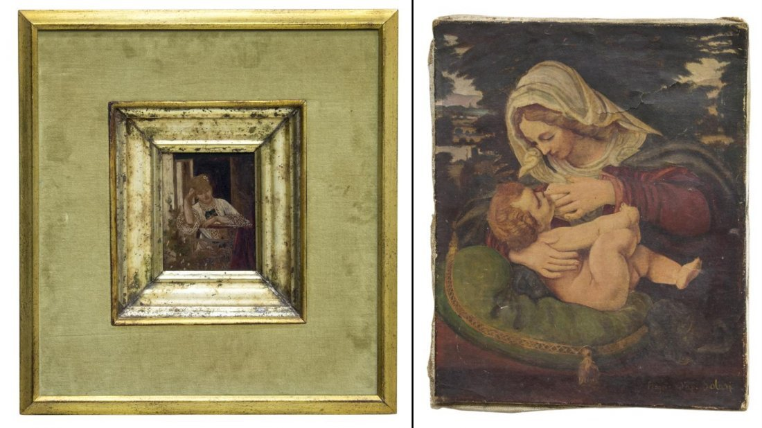 (2) ANTIQUE PAINTINGS, J. VERNET & MADONNA /CHILD