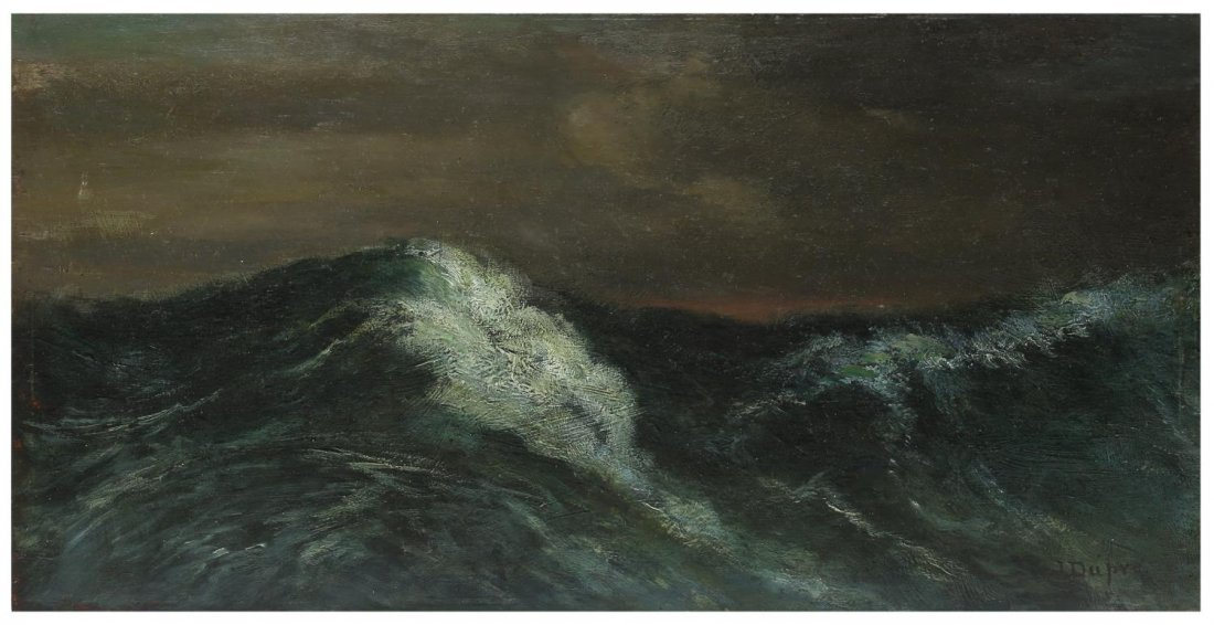 J. DUPRE, OIL PAINTING ON BOARDS, SEASCAPE, WAVES