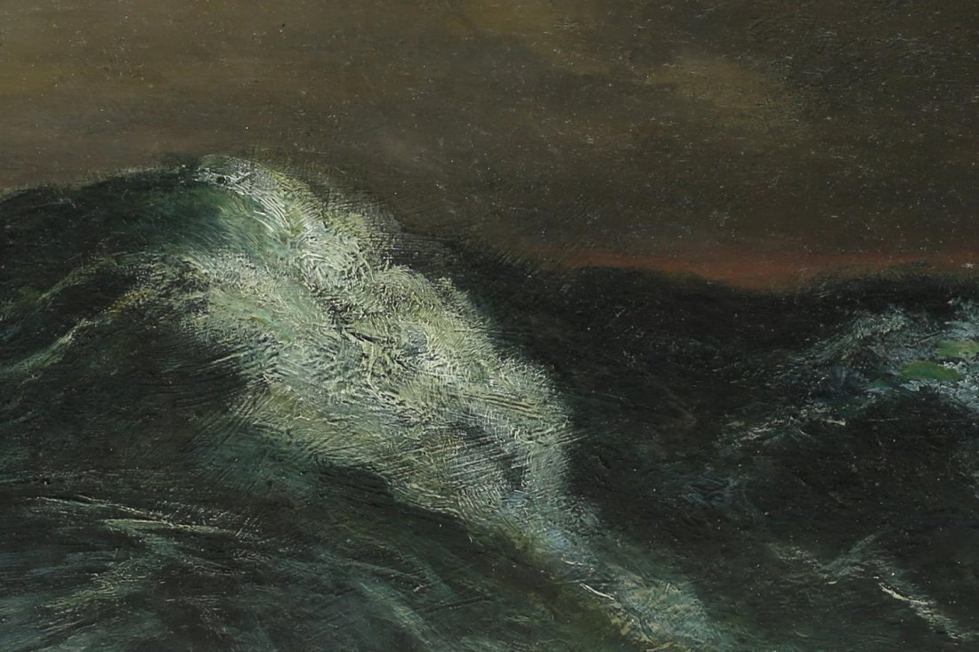 J. DUPRE, OIL PAINTING ON BOARDS, SEASCAPE, WAVES - 2