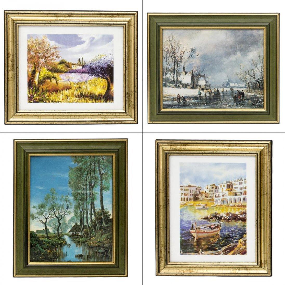 (8) GROUP OF FRAMED ARTWORKS, PRINTS, WATERCOLORS