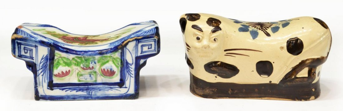 (2) CHINESE PORCELAIN PAINTED & FIGURAL PILLOWS
