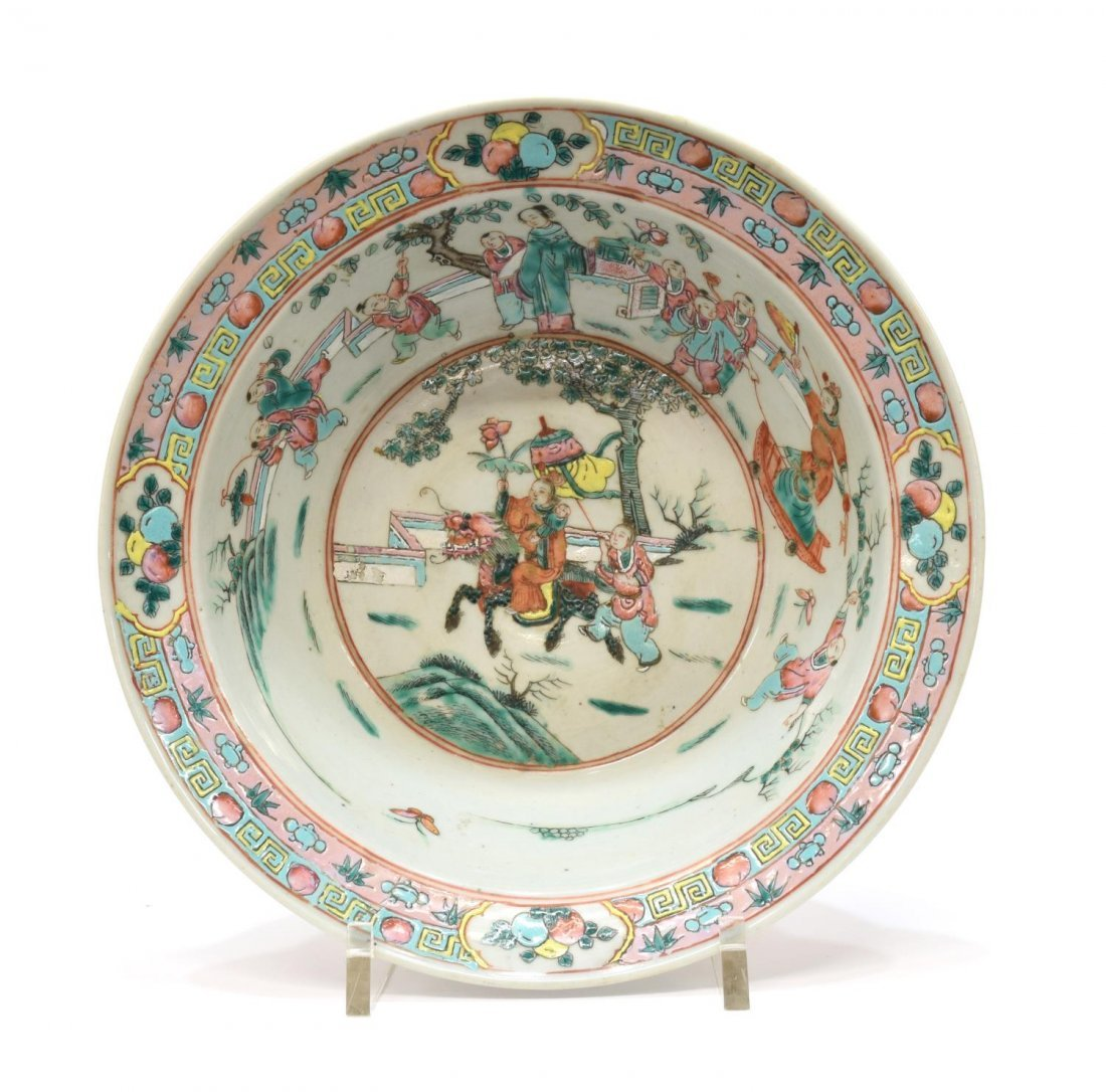 CHINESE ROSE FAMILLE & CELEDON GLAZED BOWL