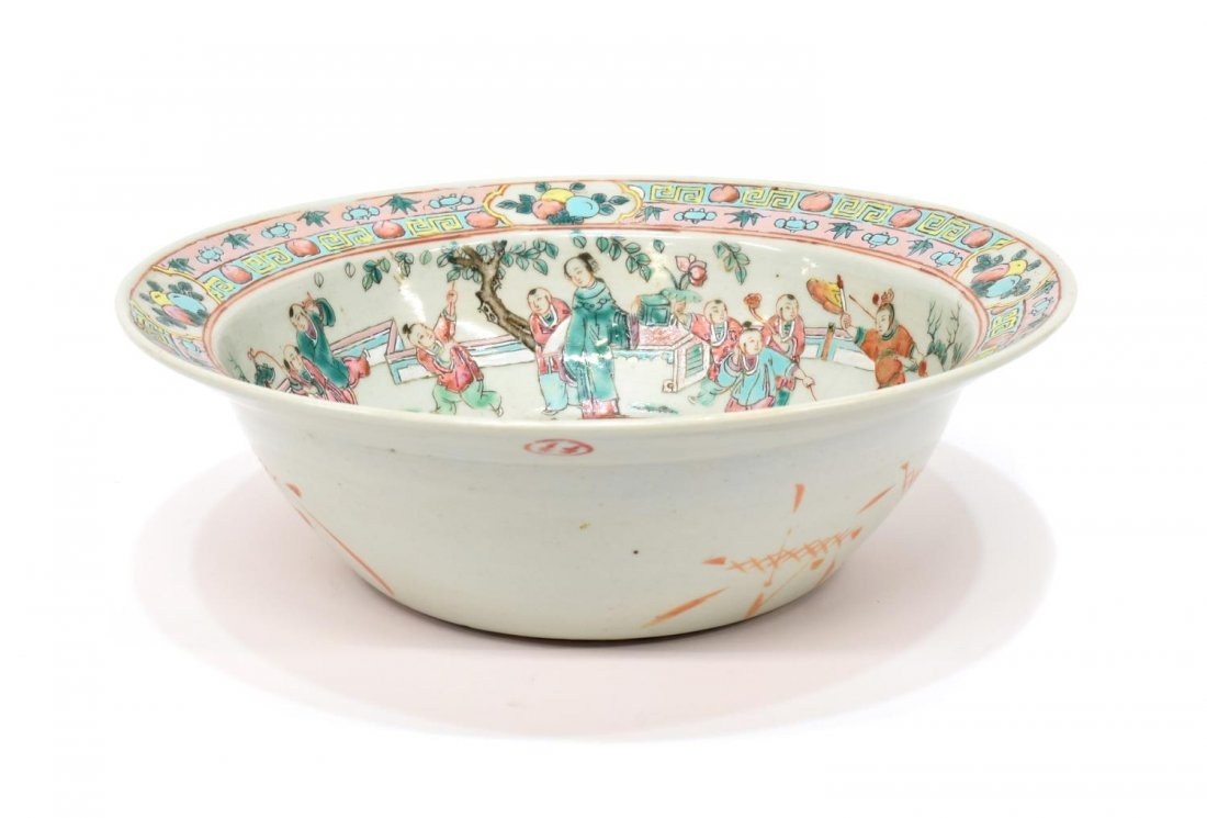 CHINESE ROSE FAMILLE & CELEDON GLAZED BOWL - 2