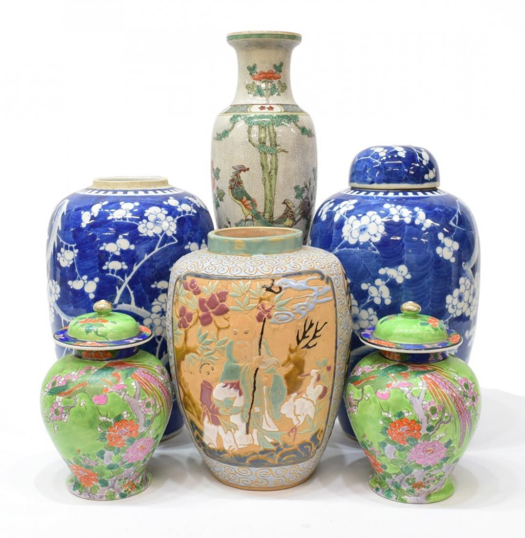 (6) COLLECTION OF ASIAN PORCELAIN URNS & JARS
