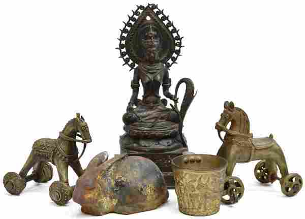 (5) COLLECTION OF METAL SCULPTURES & TABLE ITEMS