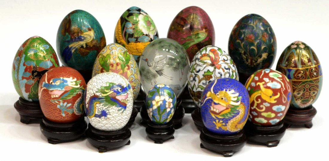 (14) CHINESE CLOISONNE & INNER PAINTED EGGS
