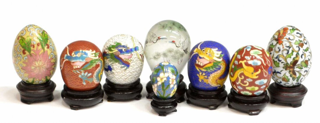 (14) CHINESE CLOISONNE & INNER PAINTED EGGS - 2
