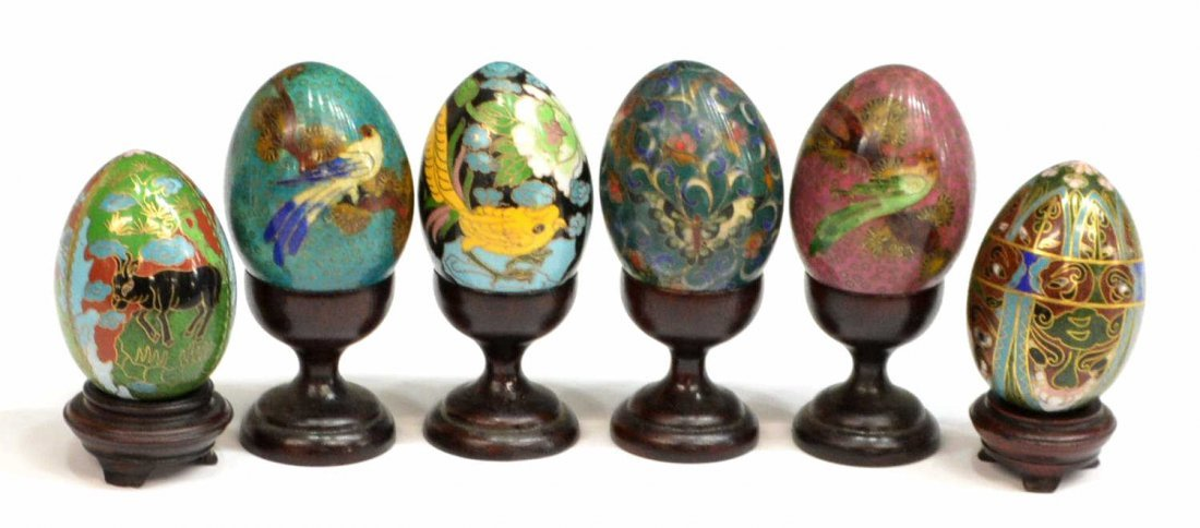 (14) CHINESE CLOISONNE & INNER PAINTED EGGS - 3