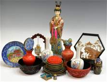 CHINESE CLOISONNE, CINNABAR CABINET GROUPING