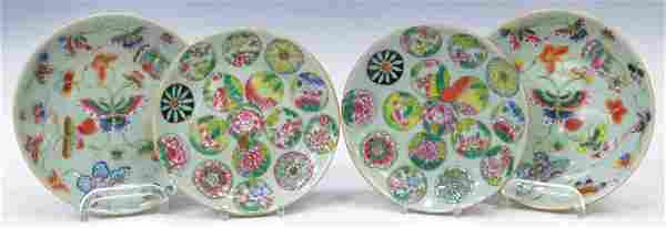 (4) CHINESE PORCELAIN POLYCHROME PLATES