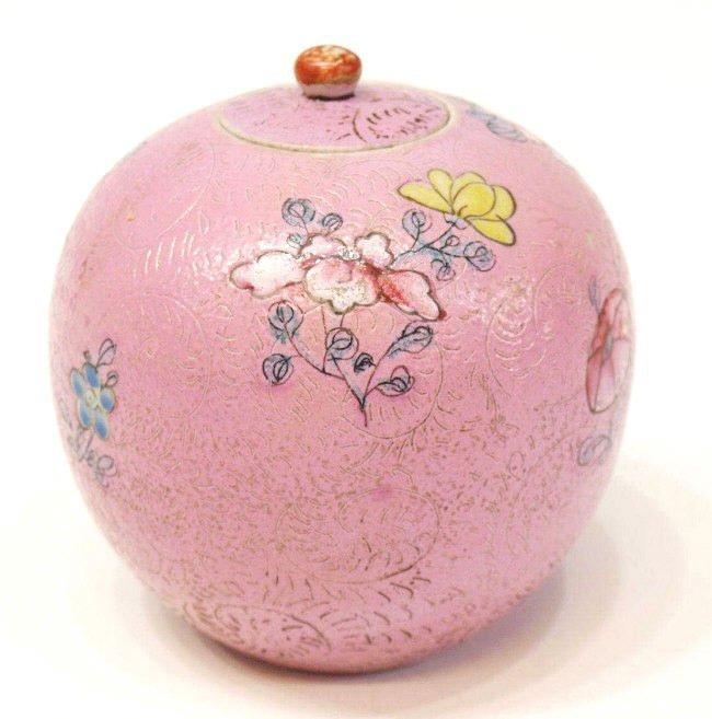CHINESE ROUND ENAMELED PORCELAIN JAR, QING - 2