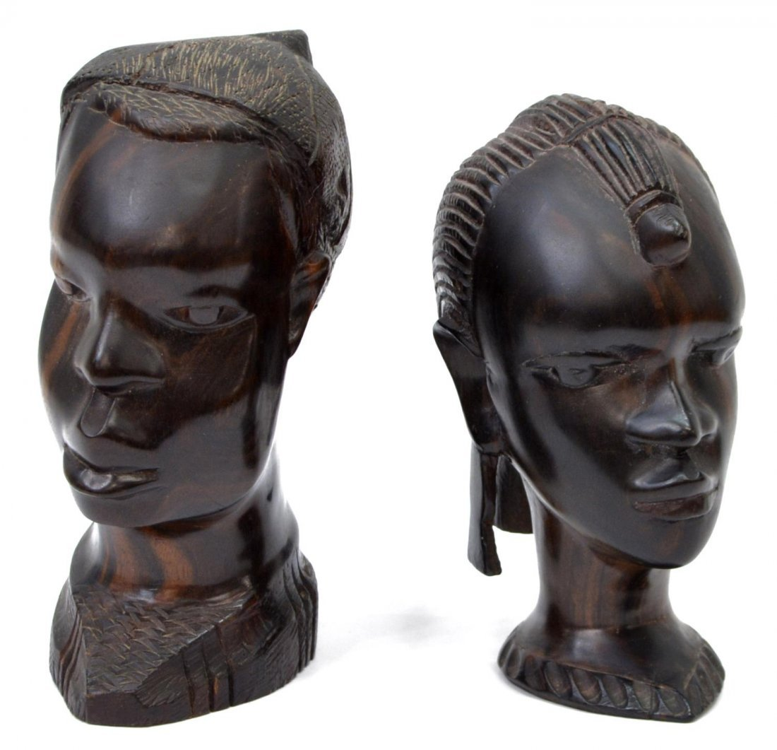 (6) DECORATIVE GROUP, TRIBAL HEADS, STANDING DUCK - 2