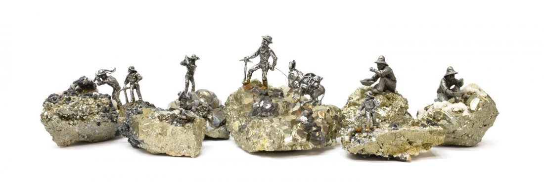 (7) J RITTER CO PEWTER MINIATURE FIGURES ON PYRITE