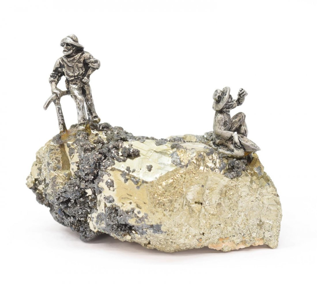 (7) J RITTER CO PEWTER MINIATURE FIGURES ON PYRITE - 3