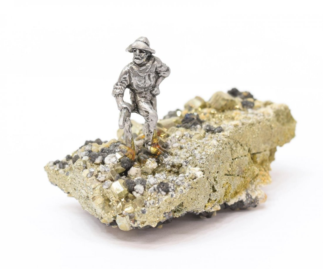 (7) J RITTER CO PEWTER MINIATURE FIGURES ON PYRITE - 4