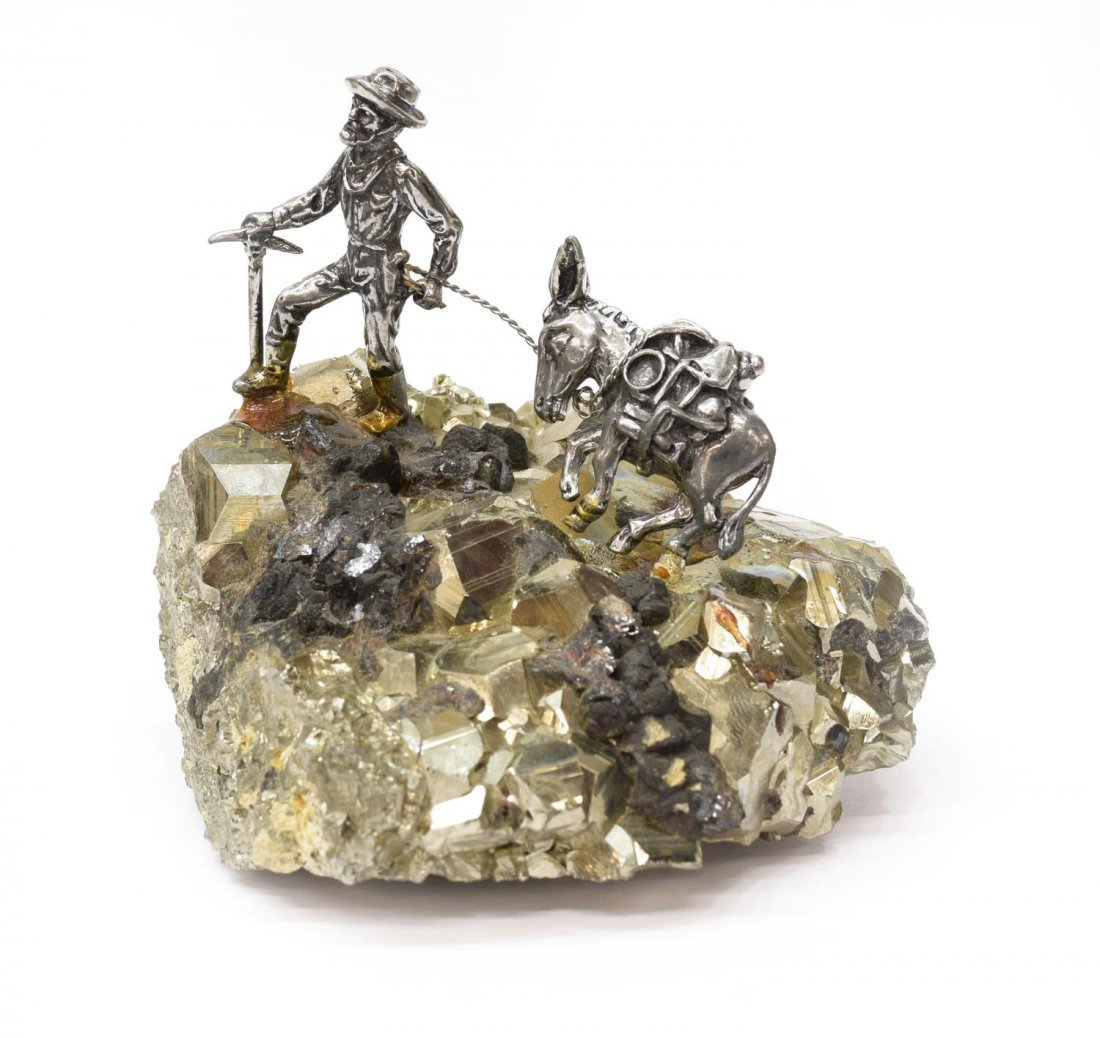 (7) J RITTER CO PEWTER MINIATURE FIGURES ON PYRITE - 7