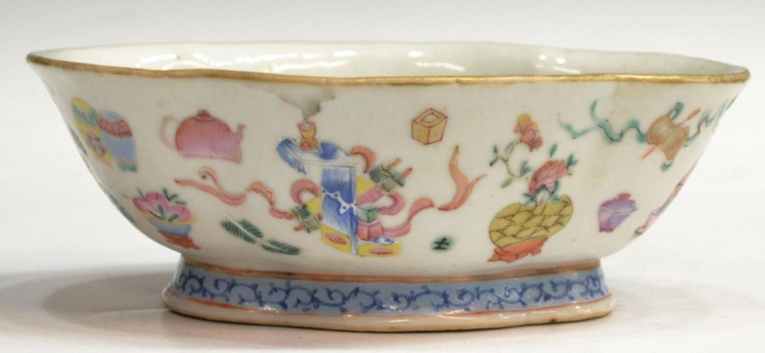 (2) 19TH C. CHINESE FAMILE ROSE PORCELAIN BOWLS - 4