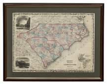 CIVIL WAR ERA JOHNSON'S NORTH, SOUTH CAROLINA MAP